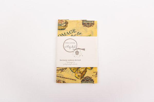 syr voskový obrúsok s etiketou